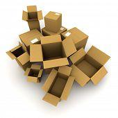 3D-Rendering von vielen Kartons, öffnen Sie einige von ihnen andere geschlossen