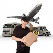 A messenger with a world map, packages, a chronometer,  a van, a truck and an airplane as background