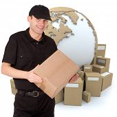 Isolated image of a messenger delivering a parcel with a world map and packages as a background