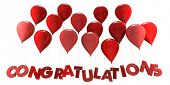3D rendering of a group of balloons with the word congratulations hanging from the strings in red sh