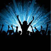 Silhouette der ein begeistert Publikum auf einem Starburst-Hintergrund
