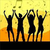 Jonge mensen dansen - vector image