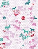 Elements with seamless pattern on background.