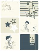 Vector Children's retro cartoons with a boy, a dog and an elephant. (Graphic Set)