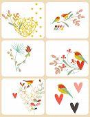 Vector Bird and Hearts (Graphics Set)