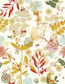 Vector Retro Amusing floral (Seamless pattern)