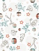Vector Baby Cute Jungle Friends (Seamless Pattern)