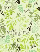 Vector seamless pattern displaying little baby birds in a garden.