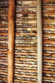 Clay square roof tiles ceiling indoor wooden beams view in Pyrenees