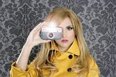 fashion photographer retro camera reporter woman vintage wallpaper yellow coat
