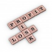 Business Risk, Profit and Loss Crossword Puzzle in Rose Gold color. Risk Manegement concept. 3D illu poster