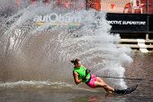 MELBOURNE, AUSTRALIA - MARCH 14: Vanessa Leopold participates in the slalom event at the Moomba Mast