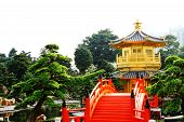 Oriental Golden Pavilion Of Chi Lin Nunnery And Chinese Garden, Landmark In Hong Kong . poster