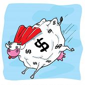 stock photo of cash cow  - Cartoon superhero cash cow in the blue sky - JPG