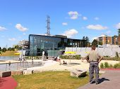 foto of burlington  - An new playground and a fountain on the promenade an the lake shore in Burlington.  - JPG
