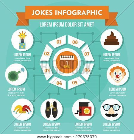 Jokes Infographic Banner Concept Flat