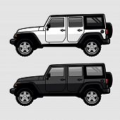White And Black 4x4 Off Road Vehicle Suv Side View Illustration In Cartoon Style. Expedition Off Roa poster