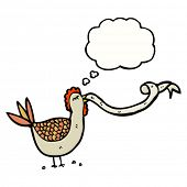 chicken with thought bubble clucking