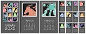Calendar 2020. Zodiac Signs: Aquarius, Libra, Leo, Cancer, Pisces, Virgo, Capricorn, Sagittarius, Ar poster