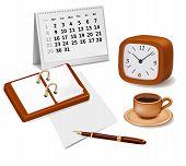 Libro abierto, reloj y una taza de café. Elementos de diseño. Vector.
