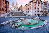 Spanish Steps, Rome. Cityscape Image Of Spanish Steps And Barcaccia Fountain In Rome, Italy During S poster