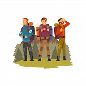 Men Travelling Together, Camping People, Backpacking Trip Or Expedition Vector Illustration poster