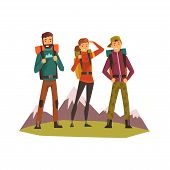 People Travelling Together, Tourists Hiking, Mountain Landscape, Backpacking Trip Or Expedition Vect poster