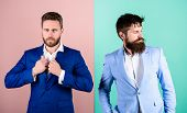 Business People Fashion And Formal Style. Business Partners With Bearded Faces. Business Fashion Lux poster