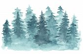 Beautiful Watercolor Background With Mystery Blue Coniferous Forest. Mysterious Fir Or Pine Trees In poster