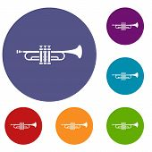 Brass Trumpet Icons Set In Flat Circle Reb, Blue And Green Color For Web poster