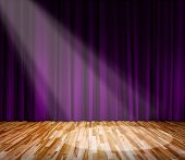 Background. Lighting On Stage. Purple Curtain And Wooden Floor Interior Background. Interior Templat poster