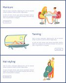 Manicure And Tanning Process In Solarium For Tan Gaining, Posters Set Text Sample Vector. Hair Styli poster