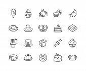 Simple Set Of Dessert Related Vector Line Icons. Contains Such Icons As Macarons, Bagel, Sweet Waffl poster