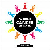 Full Color  Ribbon, 4th February , World Cancer Day Lettering Banner, We Can I Can, On White  Backgr poster
