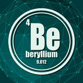 Beryllium Chemical Element. Sign With Atomic Number And Atomic Weight. Chemical Element Of Periodic  poster