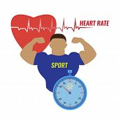 Vector Illustration Of A Strong Man And The Work Of His Heart, Measured With The Help Of A Stopwatch poster