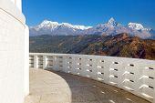 Annapurna View From World Peace Pagoda Or Stupa Near Pokhara Town, Mount Annapurna Range, Nepal Hima poster