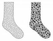 Mesh Vector Sock With Flat Mosaic Icon Isolated On A White Background. Abstract Lines, Triangles, An poster