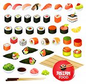 Sushi And Rolls Types, Japanese Cuisine Cooking. Vector Temaki And Sashimi, Ikura And Kappa Or Syaki poster