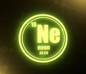 Neon Chemical Element. Sign With Atomic Number And Atomic Weight. Chemical Element Of Periodic Table poster
