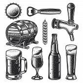 Vector Set Of Beer Elements. Beer Barrel, Lid, Mug, Glass, Bottle Opener, Bottle, Faucet. Monochrome poster