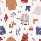 Winter Seamless Pattern With Warm Knitted Clothes On Light Background. Backdrop With Woolen Seasonal poster