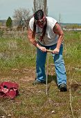 Native American Indian Woman Digging Camas In Traditional Way