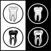 Vector tooth icons. Black and white. Simply change.