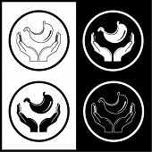 Vector icons médicas. Proteção do estômago. Preto e branco. Simplesmente mude.