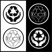 Vector recycle symbol in hands icons. Black and white. Simply change.