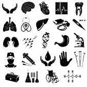 Vector medical icons. Black and white.