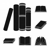 Vector Illustration Of Library And Textbook Icon. Set Of Library And School Vector Icon For Stock. poster