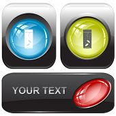 Glass with tablets. Vector internet buttons.