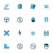 Protection Icons Colored Set With No Smoking, Hand Protection, Poison Jacket Elements. Isolated Vect poster